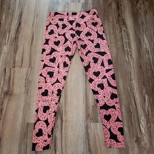 LuLaRoe Pink Heart Leggings